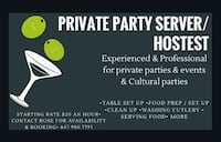 Private party helper/host available Vaughan, L6A 2J7