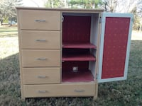 Upcycled vintage solid-maple entertainment ctr