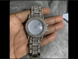 iced out watch, stainless