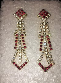 Red and white stone earrings