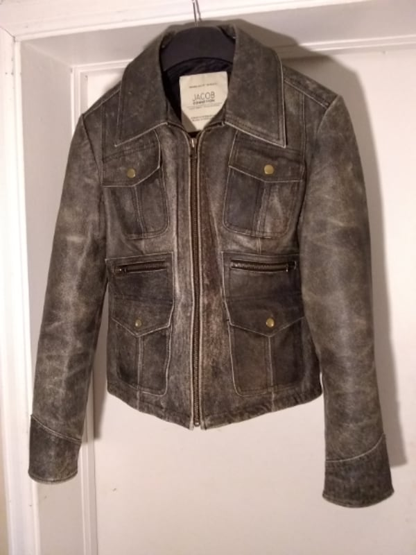 NEW Leather Distressed Motorcycle Jacket by Jacob 3c49ee29-353b-4453-849a-400e5a3fa356