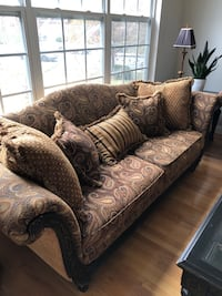 Brown and beige floral sofa set