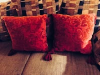 Paired Wine Colored Jacquard Print  Sofa Pillows Bear, 19701