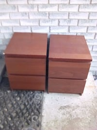 brown wooden 2-drawer night stands