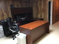 brown wooden desk with hutch 16 km