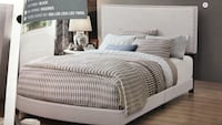 Ivory king bed frame with nail head trim Bellair, 32073