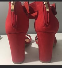 pair of red suede heeled booties Gaithersburg, 20877