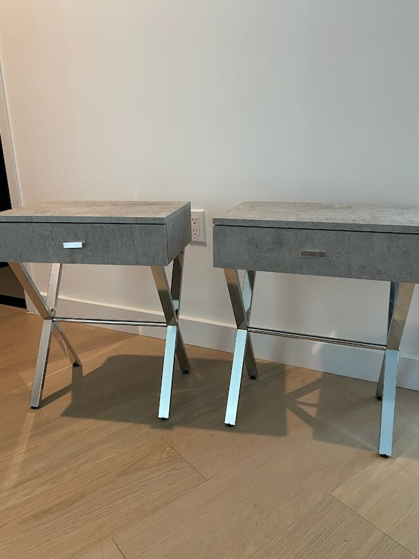 Stylish Gray & Silver Nightstands (2) a9770750-5418-4ef6-a91c-4b938c1b6c4a