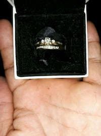 Gold-marriage/ engage ring with clear gemstone 2598 km
