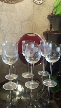 Set of 6 gorgeous wine glasses with frosted flower Winnipeg, R2W 1S3