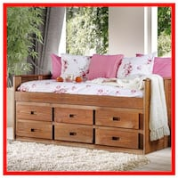 Rustic Mahogany Day Bed With Drawers Huntington Beach