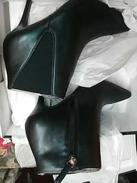 black leather stiletto booties