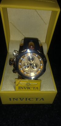round gold chronograph watch with black leather strap Hagerstown, 21742