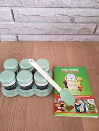 Baby bullet storage  containers and cookbook
