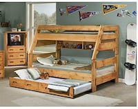 Double Twin wooden bunk bed with 3 drawers Wilmington, 28412