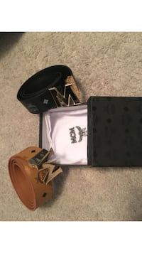 brown-and-black leather MCM buckled belt with box