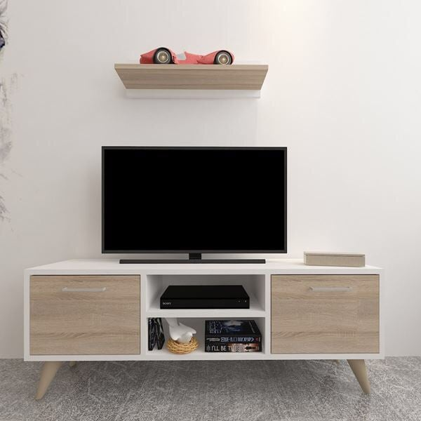Brown white wooden tv stand