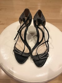 pair of black leather open-toe heels Beverly Hills, 90211