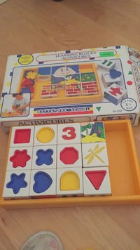 Absolutely amazing learning blocks toy by Battat. Amazing toy with six different activities. Great educational toy. One of the pieces for one of the six games is missing. A plus sign. Great great toy for hours of fun! Laval, H7Y 1L4