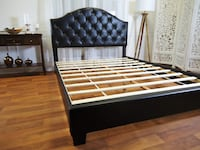 New Black Queen Bed Frame Plush Headboard Queen Size Bed