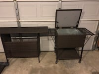 brown wicker ice cooler and bar counter