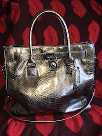brown and black snakeskin leather tote bag Winnipeg, R2X 1M4