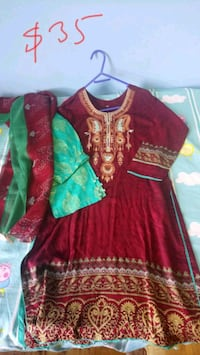 women's red and green long sleeve dress Toronto, M1T 3N4