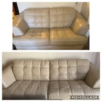 Cream leather couch and sofa West Haven, 06516