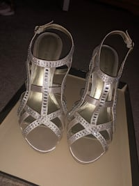 pair of gray open-toe ankle strap heels Baltimore, 21234