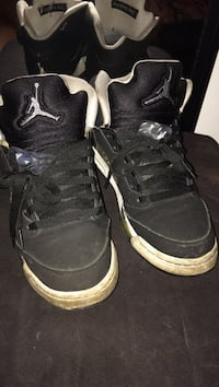 Pair of black-and-white Air Jordan basketball shoes Detroit, 48228
