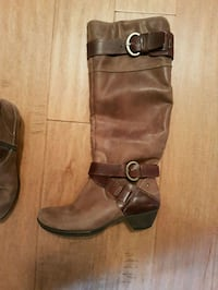 pair of brown leather buckled riding boots Maple Ridge, V4R 2R6