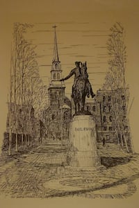 Vintage C.M. GOFF Print PAUL REVERE *OLD NORTH CHURCH (1723) Boston Wilmington