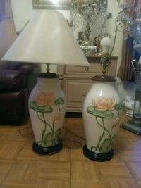 two Lager white ceramic base table lamps Lowell, 01852