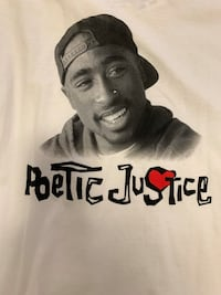 White 2pac poetic justice T-shirt