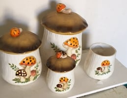 Vintage Collectible Mushroom Canister Set