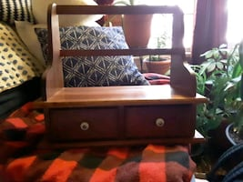 beautiful wood box two drawers could be a jewelry box