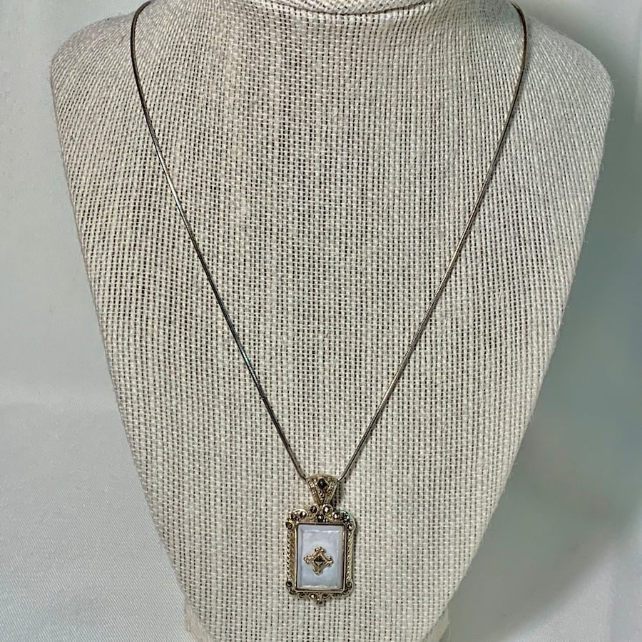 Antique Sterling Silver Mother of Pearl Pendant & Sterling Rope Chain f2416bd5-f8aa-4bef-8c6b-c89cdb7aa51b