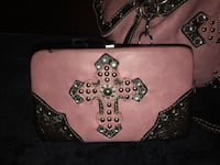 Pink and brown with silver  leather shoulder bag Kuna, 83634