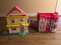 White, pink, and purple plastic dollhouse