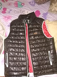 black and red zip-up puffer jacket