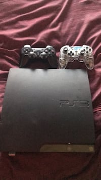 black Sony PS3 slim console with two controllers Harlingen, 78552