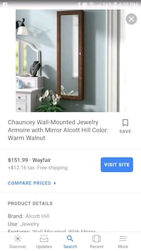 Wall hanging jewelry armoire Aurora, 80012