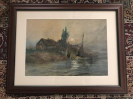 Hand painted shore scenery painting