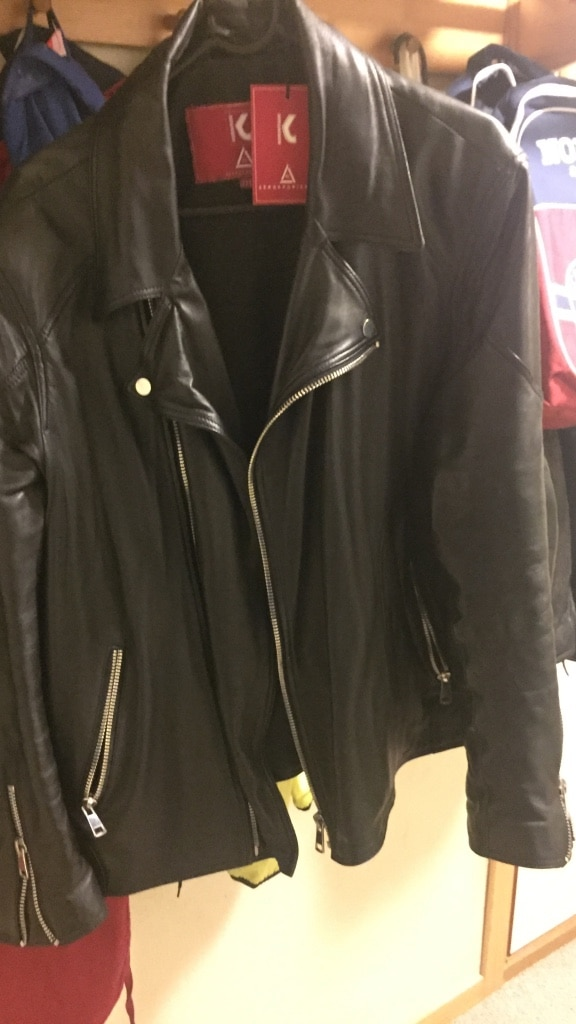 Black leather zippered jacket