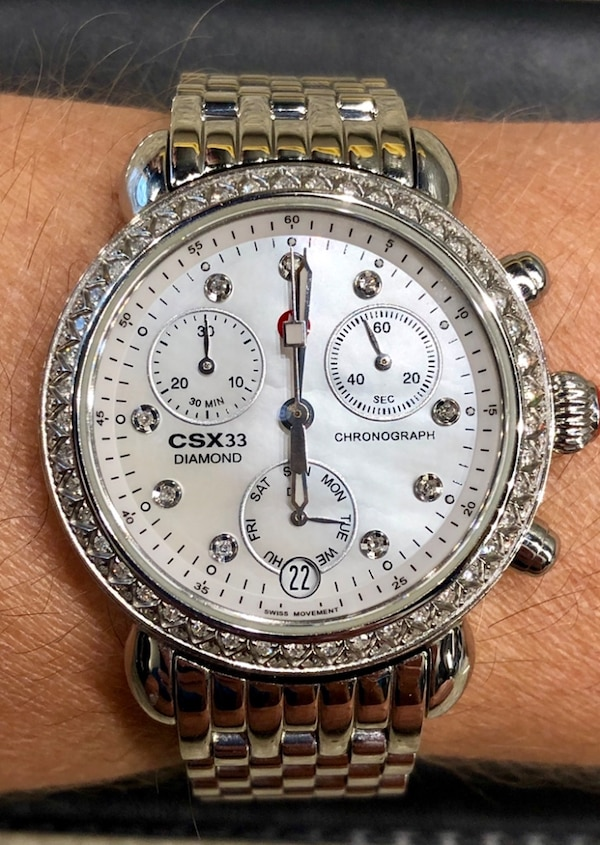 Michele Csx 33 Mm 90 Diamond Bezel Mother Of Pearl Dial