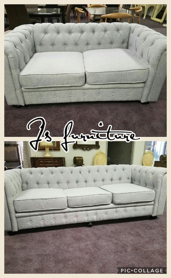 two tufted grey 3-seat and 2-seat sofas photo collage