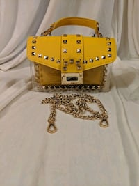 Yellow and Gold leather top handle