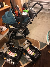 Chicco car seat with matching stroller base and two bases Palm Harbor, 34683