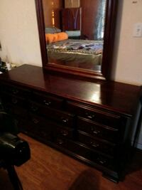 brown wooden dresser with mirror Greensboro, 27405
