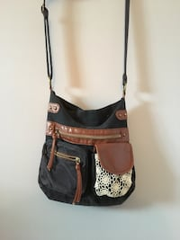 women's black and brown sling bag Pont-Rouge, G3H